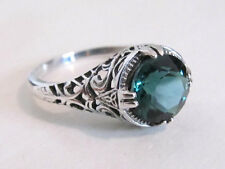 2 Carat Emerald Filigree Sterling Silver Engagement Ring Vintage Art Deco Sz 9