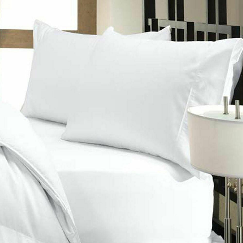 lit Sheet Set Blanc Solide Toutes Tailles & Drop Longueur 1000 TC en coton organique