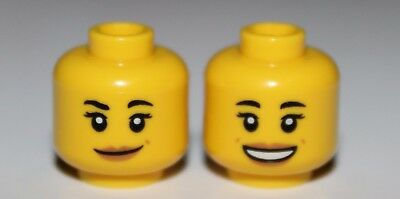 Lego New Yellow Minifigure Head Dual Sided Black Eyebrows Mouth Lines