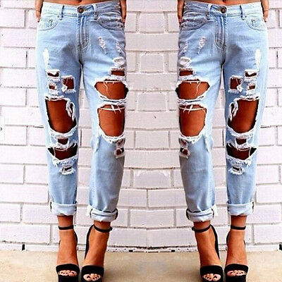 Sexy Womens Boyfriend Ripped Hole Jeans Slim Casual Jogger Denim Pants Trousers
