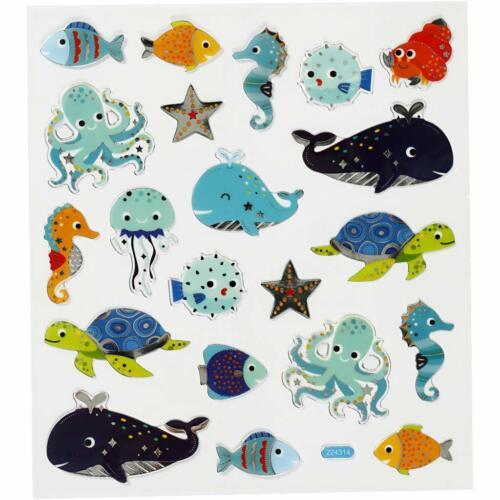 1 Hoja, 21 Pegatinas Hoja De Pegatinas Creativ 16,5 X 15 CM animales de mar