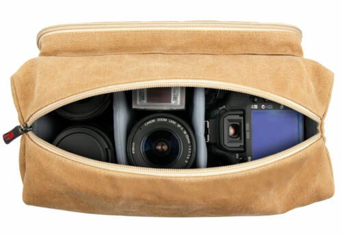 Canvas Messenger Bag ILCE-7RM2 Camera Case in Tan Brown for Sony A7R Mark II
