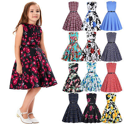 Multicolour 6~12 Years Girls Vintage Floral Evening Party Retro Swing Tea Dress