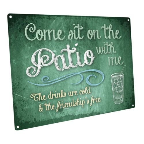 Green Chalk-look Come Sit on the Patio With Me Metal Sign; Wall Decor for Porch