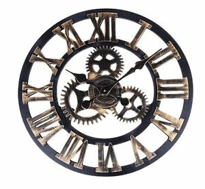 Vintage-Steampunk-Clock-Wall-Cogs-Handmade-Retro-Industrial-Gears-Kitchen-Lounge