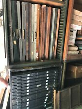 Antique Printing Equipment Linotype Hundreds Of Lead Type Drawers Wood Type
