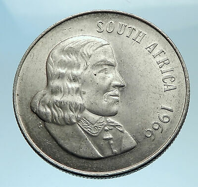 1966 South Africa Suid Afrika 1 Rand Brilliant Uncirculated Silver Coin