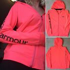 NEW UNDER ARMOUR Heat Gear Full Zip Yoga Workout Running Hoodie Jacket Neon Pink