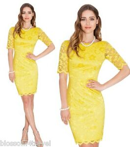 Goddess-Yellow-Lace-Wiggle-Pencil-Knee-Length-Evening-Party-Cocktail-Dress