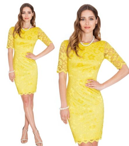 Goddess Yellow Lace Wiggle Pencil Knee Length Evening Party Cocktail Dress