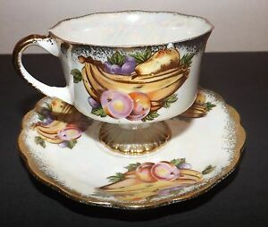 Details about Chase Japan Multicolored Opalescent Fruit China Cup Saucer  Antique Vintage