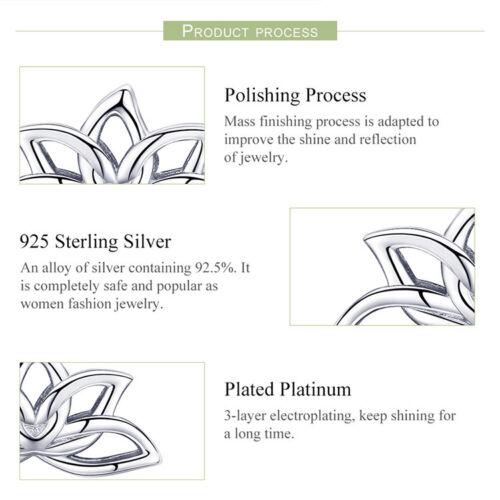 Bamoer réel S925 Sterling Silver Stud Eearring Lotus forme pour les femmes Bijoux