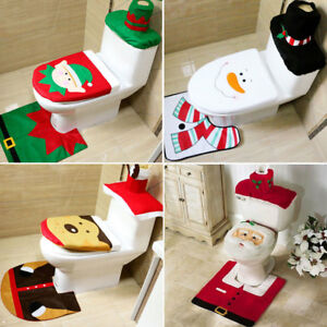 Merry Christmas Toilet Seat & Cover Santa Claus Bathroom Mat Xmas Decorations US