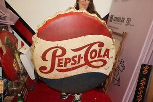 "Large Vintage 1950's Pepsi Cola Soda Pop Bottle Cap 38"" Embossed Metal Sign"