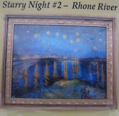 DOLLHOUSE Starry Night Over the Rhone Framed Van Gogh 9942 Miniature 1:12