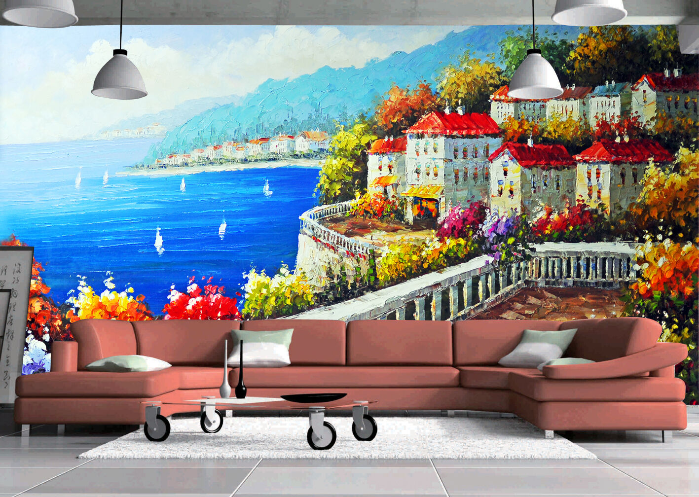 3D Seaside painting 1 WallPaper Murals Wall Print Decal Wall Deco AJ WALLPAPER