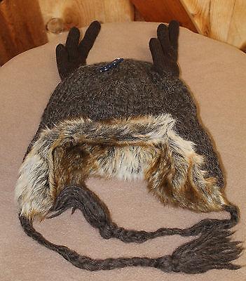 American Eagle Wool Trapper Hat - Reindeer Deer Moose Antlers - Wool - AE Winter
