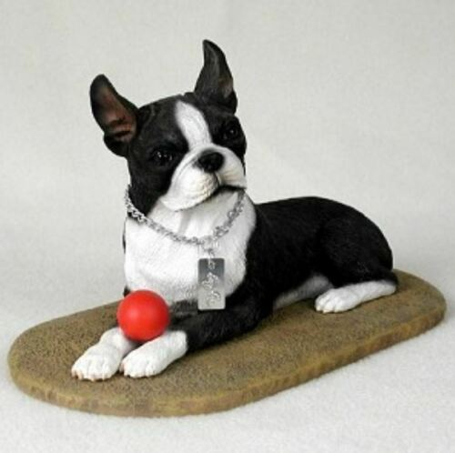 BOSTON TERRIER  MY  DOG  Figurine Statue Gift Resin Hand Painted
