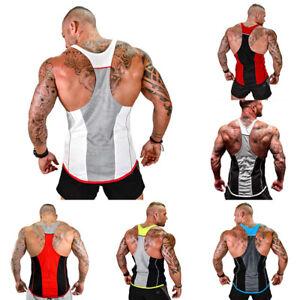 Gym-Men-Muscle-Sleeveless-Tank-Top-Tee-Shirt-Bodybuilding-Sport-Fitness-Vest-ZS