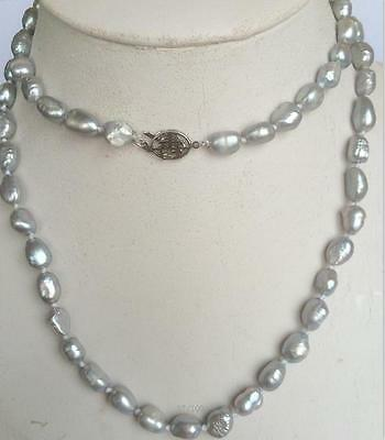 "NEW long 34 ""7-8mm baroque gray freshwater pearl necklace AAA  YL"