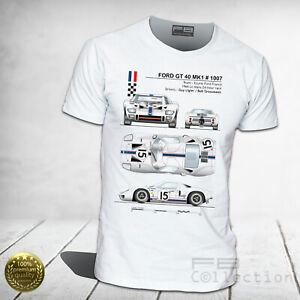 T-Shirt-Ford-GT-40-MK1-1966-Muscle-Car-24-Hour-Race-Le-Mans-Ligier-Top-Quality