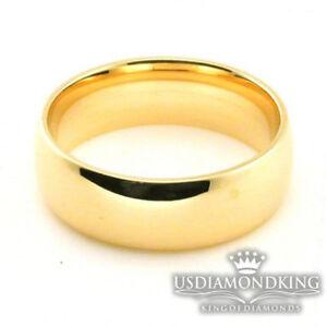 MEN-039-S-WOMEN-039-S-6-7-8-MM-10K-SOLID-YELLOW-GOLD-PLAIN-WEDDING-BAND-RING-SIZE-5-13