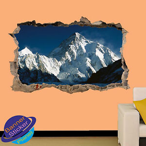 HIMALAYA MOUNT K2 PEAK VIEW 3D SMASHED WALL STICKER ROOM DECORATION DECAL MURAL