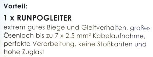 Kabeleinziehhilfe Runpotec Runpo1 mit RUNPOGLEITER rot KST 4mm länge 30m