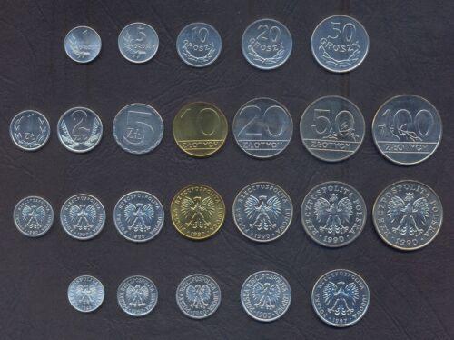 POLAND SET 1+5+10+20+50 Groszy 1+2+5+10+20+50+100 Zlotych 1949-1990 UNC LOT 12*