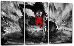 Details Zu 120x80cm Lein Wand Bild One Piece Monkey D Luffy Anime Schlagt Faust Auf Boden
