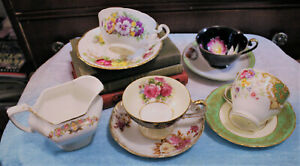 Vintage-Lot-of-4-Tea-Cups-Saucers-amp-Creamer-Bone-China-Occupied-Japan-England
