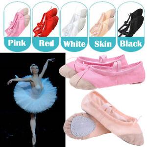 CHILDRENS GIRLS KIDS BALLET SHOES-CANVAS-SPLIT SOLE-SIZE 24-39 Gymnastics Shoes