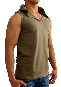 NEW-MENS-PLAIN-GREEN-HOODED-SLEEVELESS-SINGLET-TANK-TOP-GYM-M-3XL-MUSCLE-ARMY