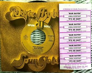 """1 Linda Ronstadt Back In The USA Jukebox Title Strip CD 7/"""" 45RPM Record"""