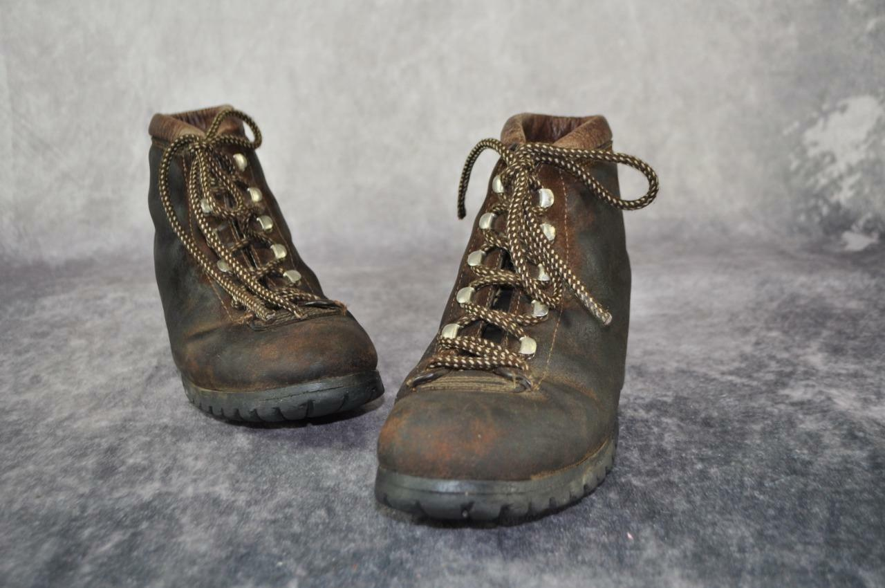 THE ALPS FABIANO PALONS Brown Suede Hiking Boots Size 7 M Womens Vintage