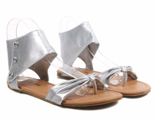 Silver Color Rhinestones Buttons Ankle Height Hook /& Loop Womens Sandals Size 8