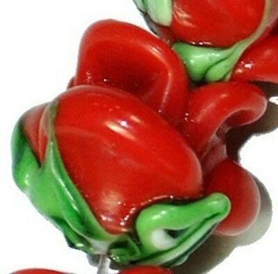 12mm Red Glass Rose Gemstone Beads 15pcs