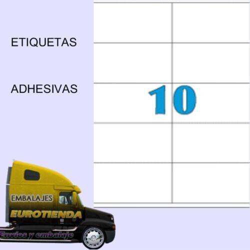 500 HOJAS ETIQUETAS AUTOADHESIVAS EH.10// A-4 5000 ETIQUETAS ADHESIVAS 105X57mm