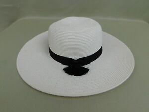 01e40084d5d Nine West Woven Straw Tassel Accent Packable Floppy Sun Hat White ...