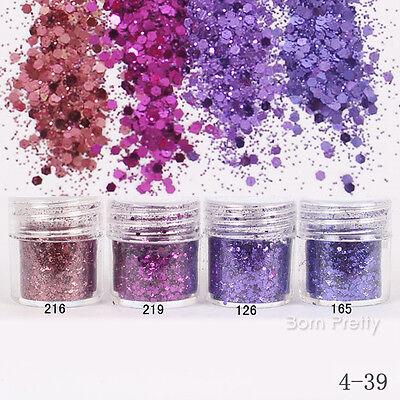 1Box 10ml Blue Purple Glitter Powder Super Fine Powder Sheets Tips Nail Art
