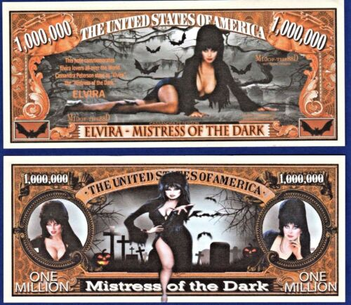 L1 1-Elvira Mistress of the dark Dollar Bill MONEY W//clear protector sleeve