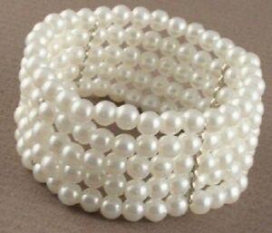 Brautschmuck perlen ivory  ♥ Damen Perlen Armband creme-weiss Armreifen Hochzeit Schmuck ...