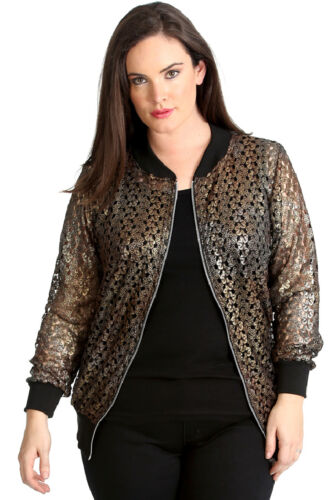 New Womens Bomber Jacket Plus Size Ladies Crochet Lace Ribbed Cuffed Party Shine