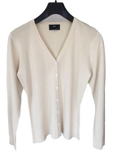 40 Räumungsverkauf Damen Feinstrick Jacke V aus reiner Seide Fb ecru Gr