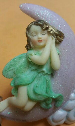 DEZINE hand painted fairy angel magnet moon flowers collectible retired HTF