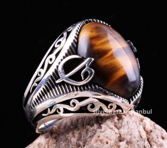 Turkish 925 Sterling Silver İslamic Vav Black Onyx Stone Mens ring ALL SİZE us 2
