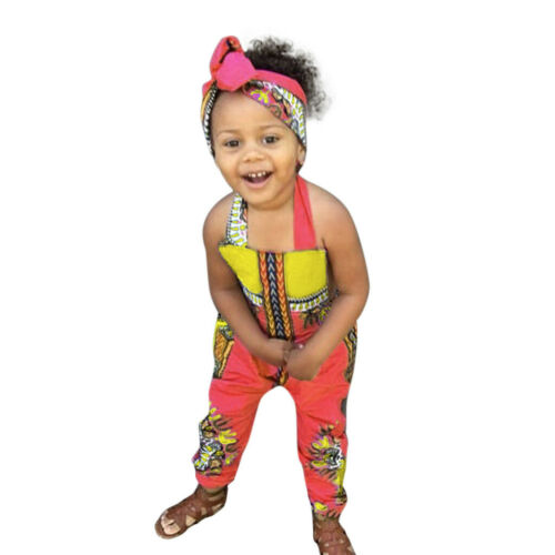 Toddler Kid Baby Girl African Print Sleeveless Romper Hair Band Jumpsuit Clothes