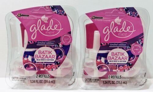 2X Glade Plugins Batik Bazaar Wild Rose Saffron Scented Oil Twin Packs 4 Refills