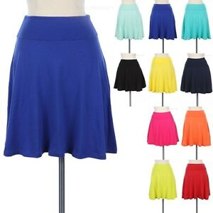 Foldover Waistband Solid Skater Skirt A Line Flared Cute Cotton ...