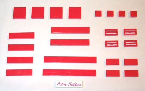 Lego Red Tiles 1x1 1x2 1x4 1x8 2x2 1x6
